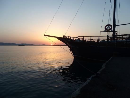 Naxos, Grekland: sunset with Santa Maria
