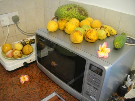 Bord Mer Villa: микроволновка и эл плита в маленьком номере - а также фрукты))