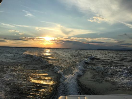 Lake Winnipesaukee: Crusing at sunset
