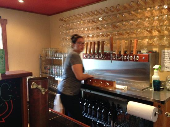 A Bonsai Brewing Staffer Prepping Our Flight Of Beers Picture Of Bonsai Brewing Project Whitefish Tripadvisor