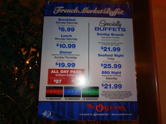 French Market Buffet: Prices