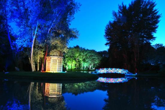 Hook, UK: West Green House Gardens by night, during the opera season