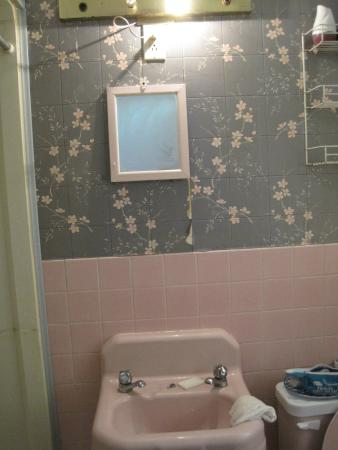 Rosecourt Motel: Bathroom with vintage sink and the only mirror in the suite