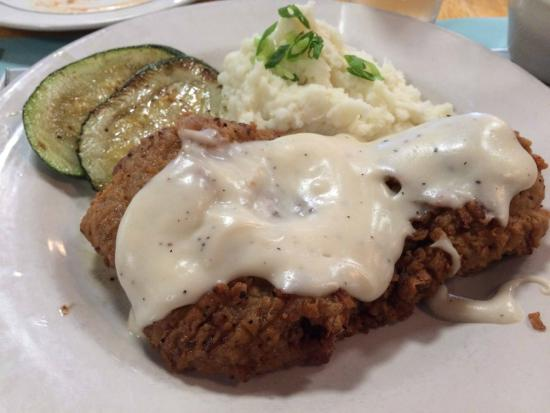 The Black Bear: chicken fried steak with gravy; mashed potatoes & zucchini