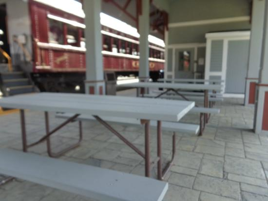 Hobo Railroad: The Hobo Picnic Tables At The Boarding Area