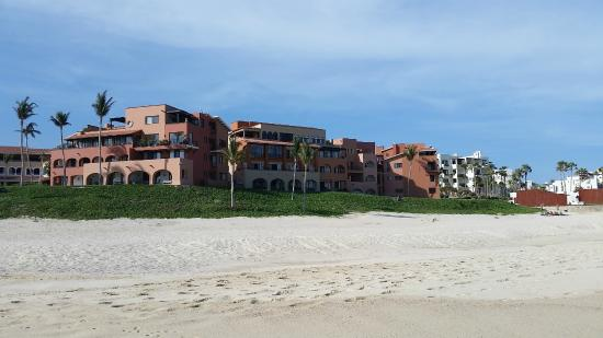 """Casa Del Mar Beach Condos: View from """"crowded"""" beach of both condo units and some hotel units."""