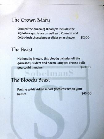 Sobelman's: Bloody Mary Menu Page 2