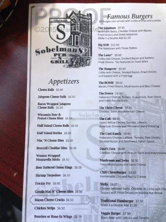 Sobelman's: Food menu (front side)