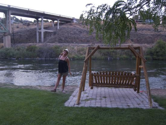 Imperial River Co.: There are a couple of swinging chairs by the water