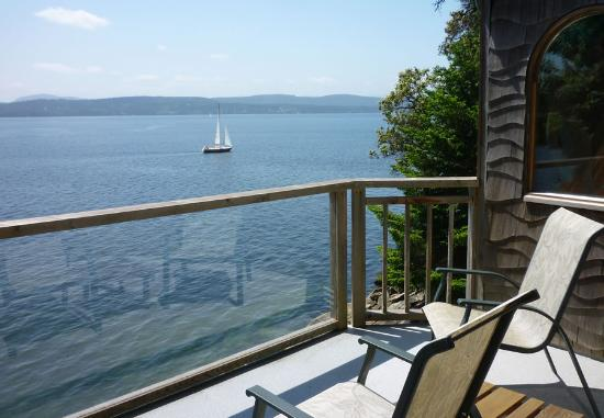 Serenity by the Sea Retreat: an idyllic view from the deck by our Windsail Room
