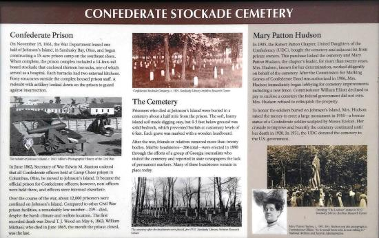 Johnson's Island Confederate Cemetery: Sign at the entrance to the cemetery)
