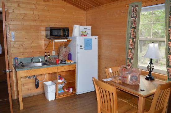 La Pine State Park: Kitchen in delux cabin