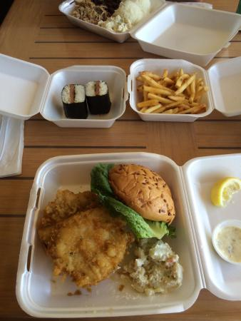 Fish sandwich & spam musubi