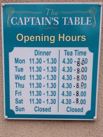 The Captains Table: Opening times