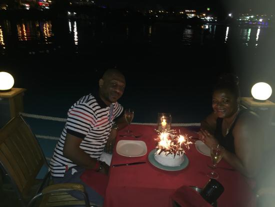On Deck - Floating Restaurant : Me & my hubbie with our complimentary cake
