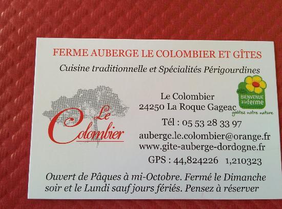 Auberge Le Colombier La Carte De Visite Du Restaurant