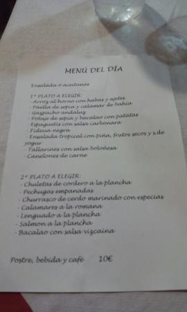 Benissoda, España: Menú diario con buena calidad precio