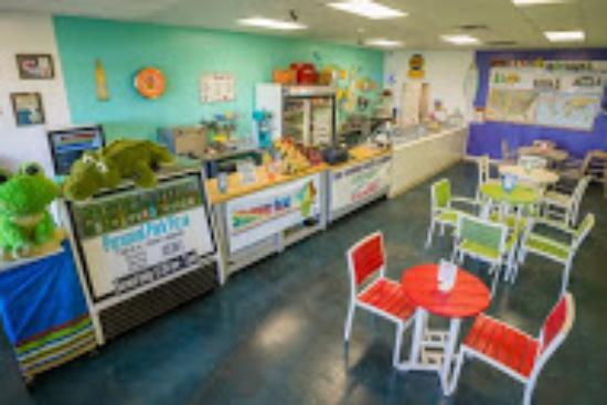 Harborwalk Scoops & Bites Ice Cream : Our colorful shop with plenty of indoor seating for the hot Florida days.