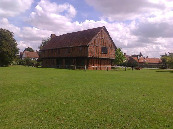 Elstow, UK: The Moot Hall with the site of 'Vanity Fair' in the foreground.