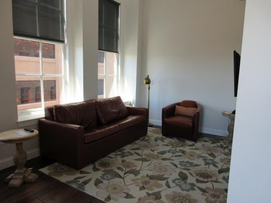 Lofts on Pearl: The Cozy Living Room