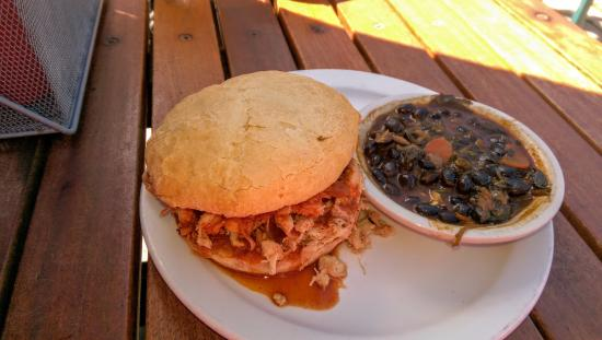 Oak: Pulled Chicken with a side of black beans & spinach