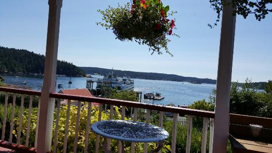 Orcas, WA: A view of the ferry dock from the front porch.