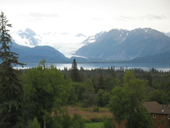View of Grewingk glacier from the deck of Crane's Rest B&B
