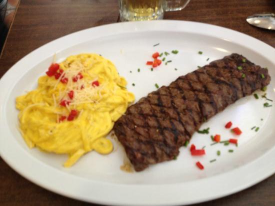 El Pollo Inka Miami: Fettuccini Huancaina & Churrasco (Certified Angus Beef)