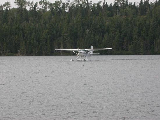 Calumet, MI: plane landing in bay