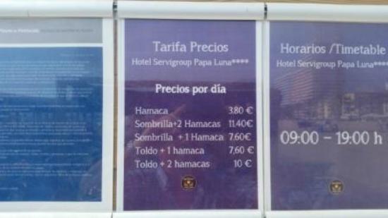 Precios de las hamacas y sombrillas fotograf a de servigroup papa luna pe scola tripadvisor - Precio de sombrillas ...
