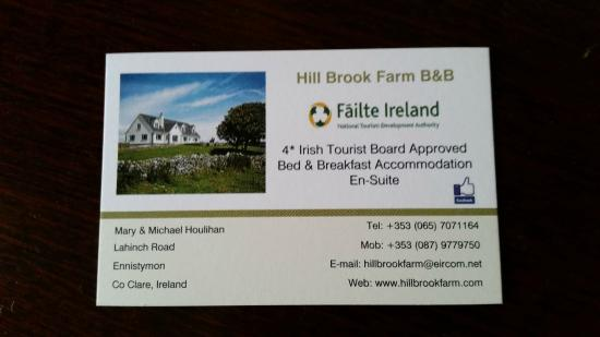 Hill Brook Farm: Business Card
