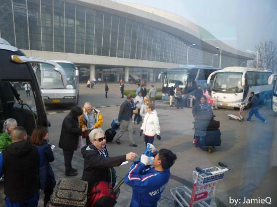 Tianjin International Cruise Port: Buses Loading Passengers at the Port of Tianjin, China