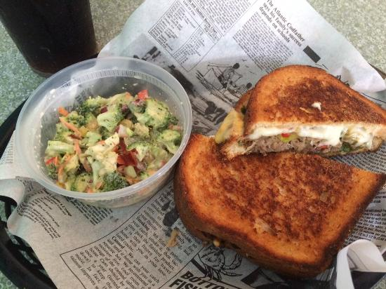 Brown Dog Deli Shortrib Grilled Cheese And Broccoli Salad