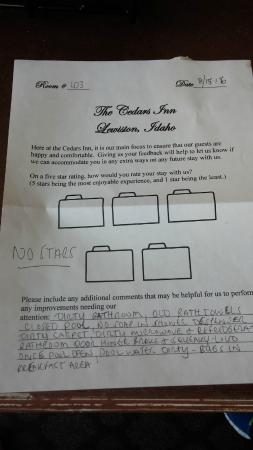 Cedars Inn Lewiston: feedback to hotel