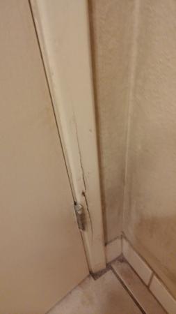 Cedars Inn Lewiston: broken door and trim