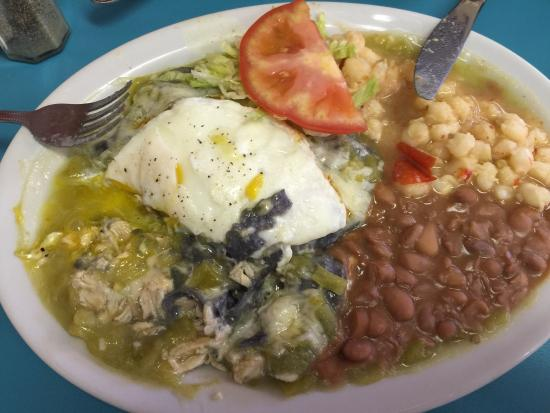 Chris' Cafe: Chicken enchiladas with green chile topped with an egg and a gluten-free version