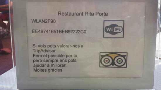 Restaurant Rita Porta : Wifi gratuito