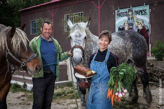 Sauveterre, France: Les fermiers-restaurateurs avec Quartz (jument percheronne) et Tornado (comtois)
