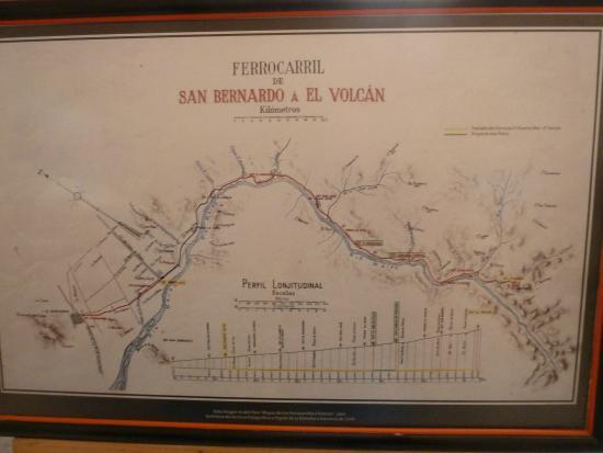 Melocoton, Chile: Der ursprüngliche Streckenverlauf der Bahn durch das Maipo-Tal