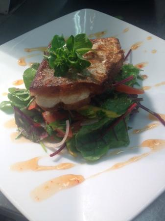 Kariba's Restaurant and Coffee House: Pan Fried Fillet of Hake, Mango, Tomato Organic Leaf Salad