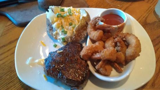 Outback Steakhouse 8 Oz Sirloin Fried Shrimp And Baked Potato