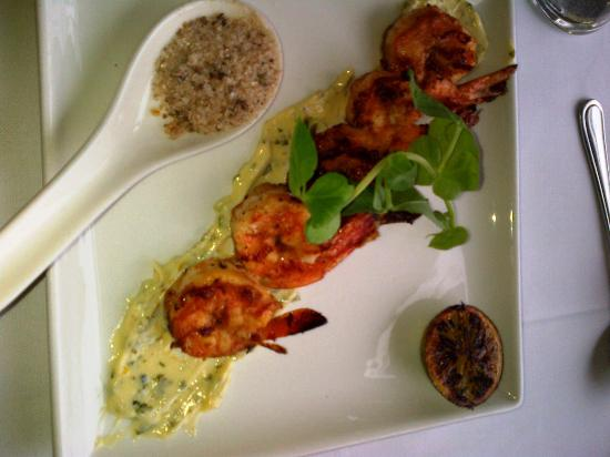 """Cafe 1999: Prawns with lime and """"Harrisa"""", Maldon salt in the spoon = Sublime!"""