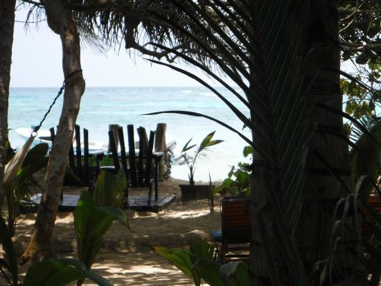 Little Corn Beach and Bungalow: in front of cabana