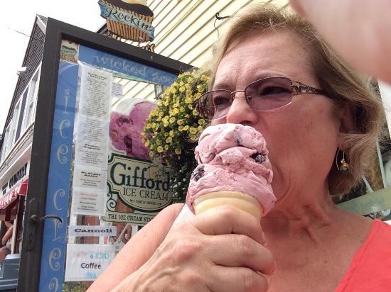 Rockin' Cupcakes: Enjoying the cherry jubilee cone.