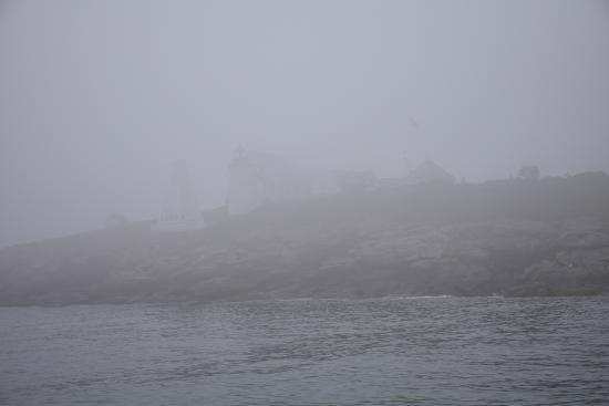 Monhegan Boat Line: Southern Island Light in the dense fog