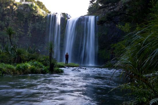 Whangarei, Yeni Zelanda: Au pied de la chute d'eau