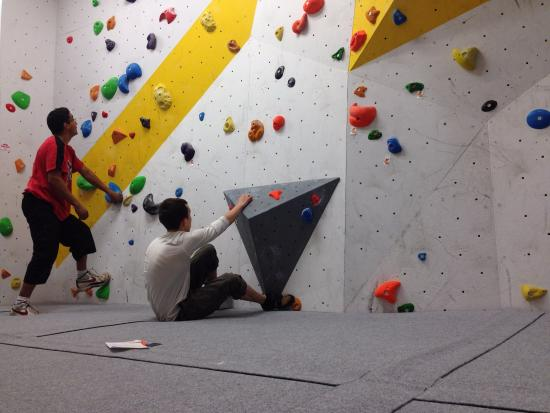 Huddersfield Climbing Centre: Alex trying a competition route