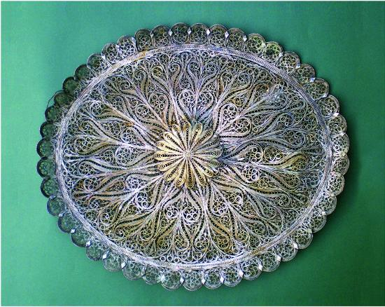 Berat County, Albania: Ethnographic Museum , Tray prepared in silver, filigrees