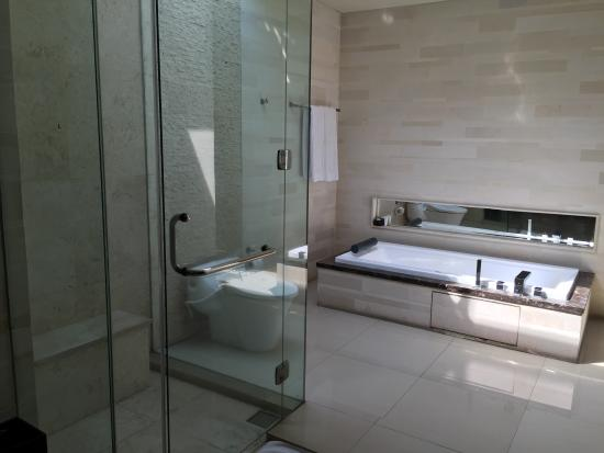 Pradha Villas: Shower and bath tub