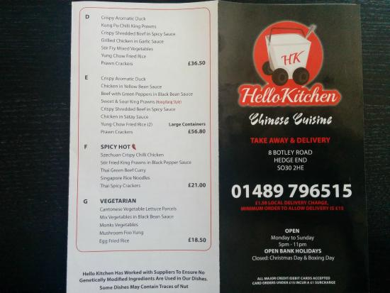 Menu picture of hello kitchen chinese takeaway hedge for C kitchen chinese takeaway restaurant